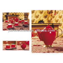 red glaze lined with edible gold coffee set new product made in China