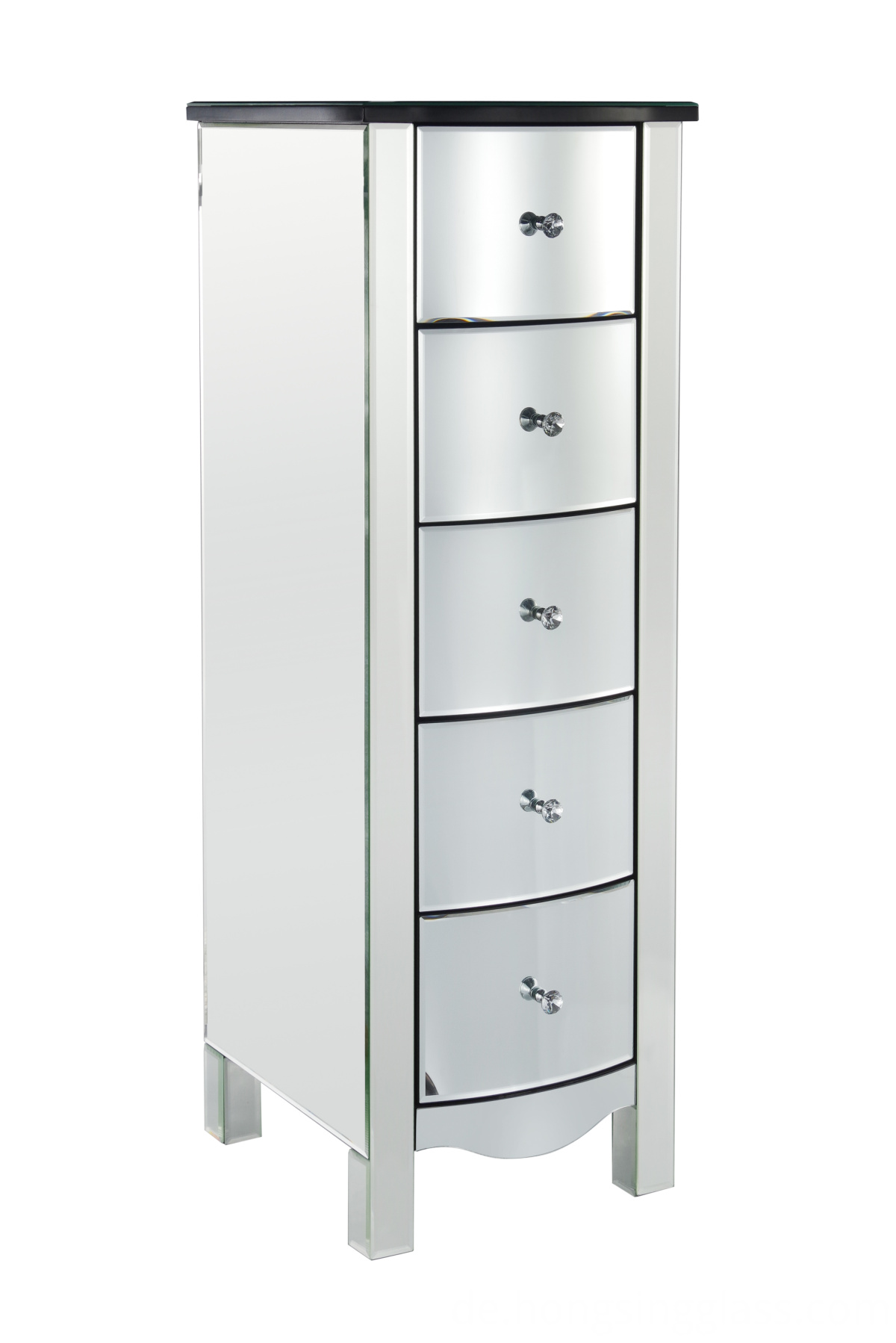 curved mirrored 5 drawer tallboy