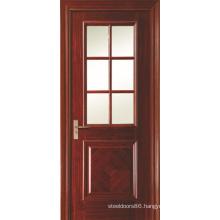 Swing Opening Painted Veneered Interior Bathroom Doors with 6 Panel Glass