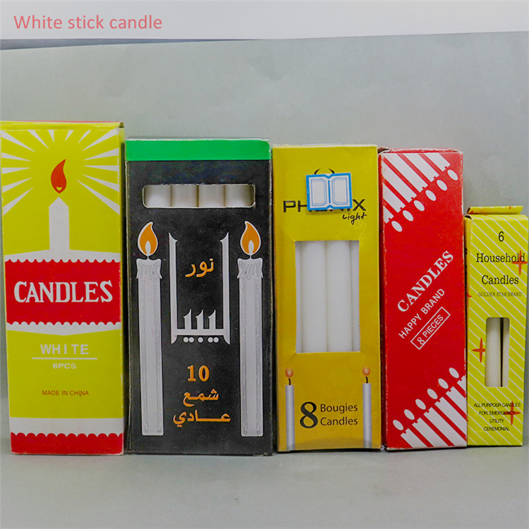 white candle packing