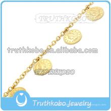 Cadena de eslabones de oro de 18 k con pulsera de Cristo de acero inoxidable para el círculo de vacío religioso de Jesús religioso para mujeres