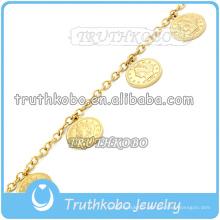 Chaîne à maillons en or 18 carats avec cercle Circle Aspirant Religieux Jésus Bracelet En Acier Inoxydable Christ Bracelet pour Femmes