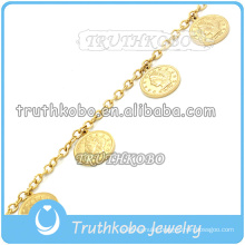 Fashion 18k Gold Link Chain With Circle Vacuum Religious Jesus Charm Stainless Steel Christ Bracelet for Women
