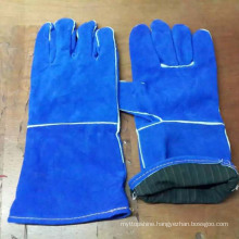 Blue Safety Patched Palm Cow Split Leather Worker Gloves