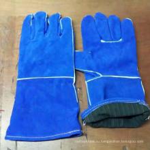 Синяя безопасность Патч-корова Сплит-кожаные рабочие перчатки