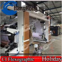 Machine de presse d'impression flexographique / six couleurs / pour étiquettes / tambour central