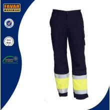 Amarillo negro algodón taladro de los hombres ligeros pantalones de Vis pantalones de trabajo