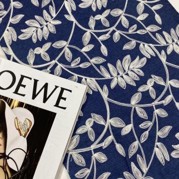 Bordado de toalha de fio de rayon na tela da sarja de Nimes