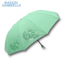 2018 venta al por mayor multifuncional multifuncional anti-UV monzón plegable marca 21 '' manual de lluvia abierta y sol 3 paraguas plegable para dama
