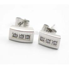 Silber 316L Edelstahl quadratische Ohrstecker mit Kristallen