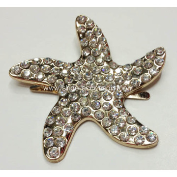 Starfish Metal Decorative Buckle with Rhinestone