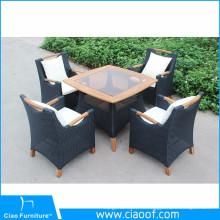 Открытый садовая мебель из ротанга обеденный стол и стулья из тикового дерева рукояткой
