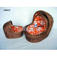 (BC-BA1006) High Quality Handmade Willow Carry & Sleep Baby Basket