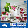 roses decal fine porcelain tea set for 6 people
