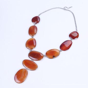 Oval Shape Stone Drop Tassel Necklace