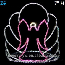 Corona de cristal de la bruja de Halloween de cristal rosado, coronas de cristal baratas del desfile