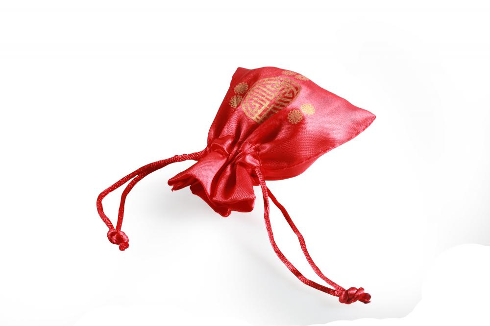 Chinese style red satin drawstring bag pouch