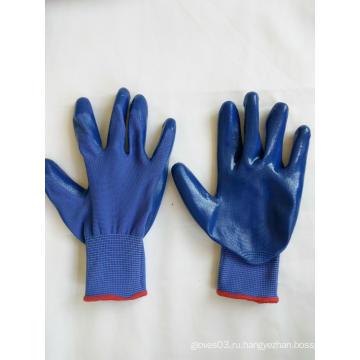 13G полиэфирные оболочки с покрытием из нитрила, защитные перчатки (N6019)