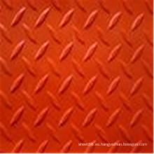 Hoja de goma antideslizante de color rojo Checker