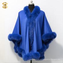 Frauen Warm Luxus Kaschmir Kap Pashmina Mit Fluffy Fox Pelz Trim Umhang
