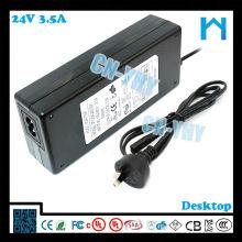 Tipo de escritorio AC DC adaptador 84w 24v 3.5a LED LCD CCTV y dispositivos de escritorio con CE FCC GS C-tick, UL / CUL