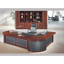 Design de mesa de escritório clássico, mesa de estofamento de madeira fina para escritório comercial usado (A-07)