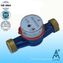 Compteur d'eau Jet unique Type sec en laiton corps