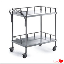 Stainless Steel Hospital Instrument Two Shelf Trolley