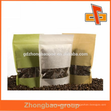 Stand up rice paper custom coffee bag with clear window for coffee bean packaging