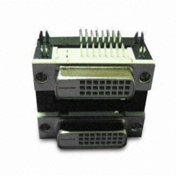 DVI 24 + 1 femmina Dual Port Angle DIP Type