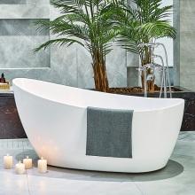 Simple White Bathroom Acrylic Oval Glossy Bathtub