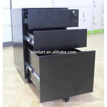 Armário de arquivo móvel da estrutura de KD / armário de arquivo preto sob a mesa