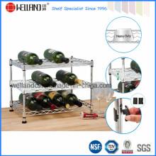 Mini ajustável Chrome Wire Metal Tabletop vinho Rack preço de atacado