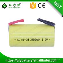 GLE ni-cd batterie sous c batterie 1.2 v 3400 mah nicd sc batterie rechargeable