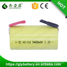 GLE ni-cd battery sub c battery 1.2v 3400mah nicd sc rechargeable battery