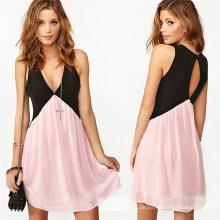 2015 Sommer Kontrastfarbe Casual Chiffon Mädchen Kleid (50182)