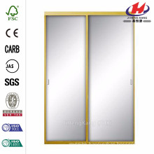 48 in. x 81 in. Asprey Bright Gold Mirror Aluminum Framed Interior Sliding Door
