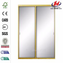 48 polegadas x 81 polegadas Asprey espelho de ouro brilhante porta de correr de alumínio emoldurado interior