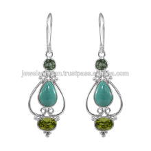 Designer Tibetan Turquoise Gemstone 925 Sterling Silver Earring Jewelry