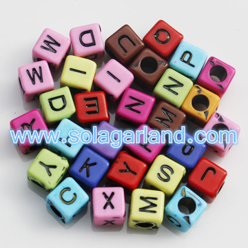 DIY Random Alphabet/Letter Acrylic Cube Spacer Loose Beads 6MM