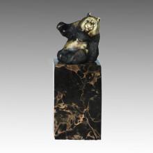 Animal Estatua Sentado Panda Tallado Escultura De Bronce, Milo Tpal-308