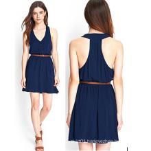 OEM 2015 Fashion Blue Chiffon Women Dress for Ladies