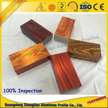 Profil en bois adapté aux besoins du client en aluminium d'électrophorèse de profil 3D d'extrusion pour le profil de tuyau