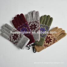 Full Finger Winter 100% polyester Knitted nylon Gants mitten