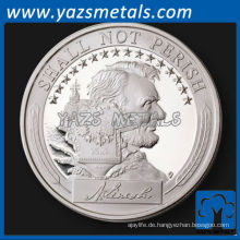 fertigen Sie Münze besonders an, kundenspezifische Metall USS Lincoln silberne Beweis-Herausforderungsmünze