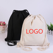 wholesale eco friendly organic cotton printed logo simple outdoor storage drawstring pouch bag canvas drawstring backpack