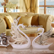 Abstract sculpture art and crafts resin indoor decorative statue swan lovers figurines