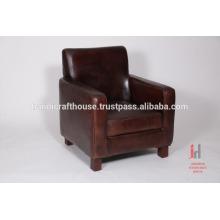 Antique dark brown leather living room sofa
