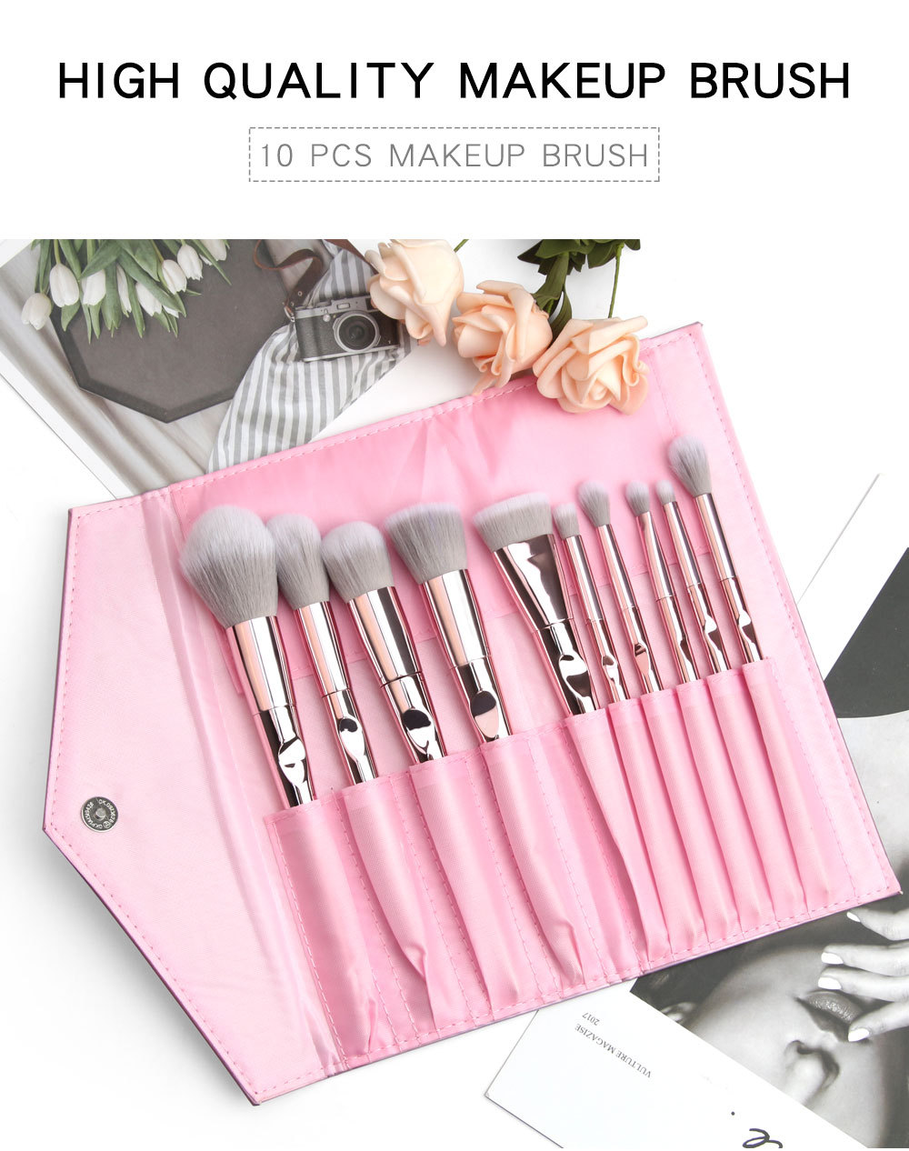 10 Piece Rose Gold Makeup Brushes Set 2