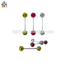 Tiger Strip 316l Stainless Steel Tongue Barbell Jewelry